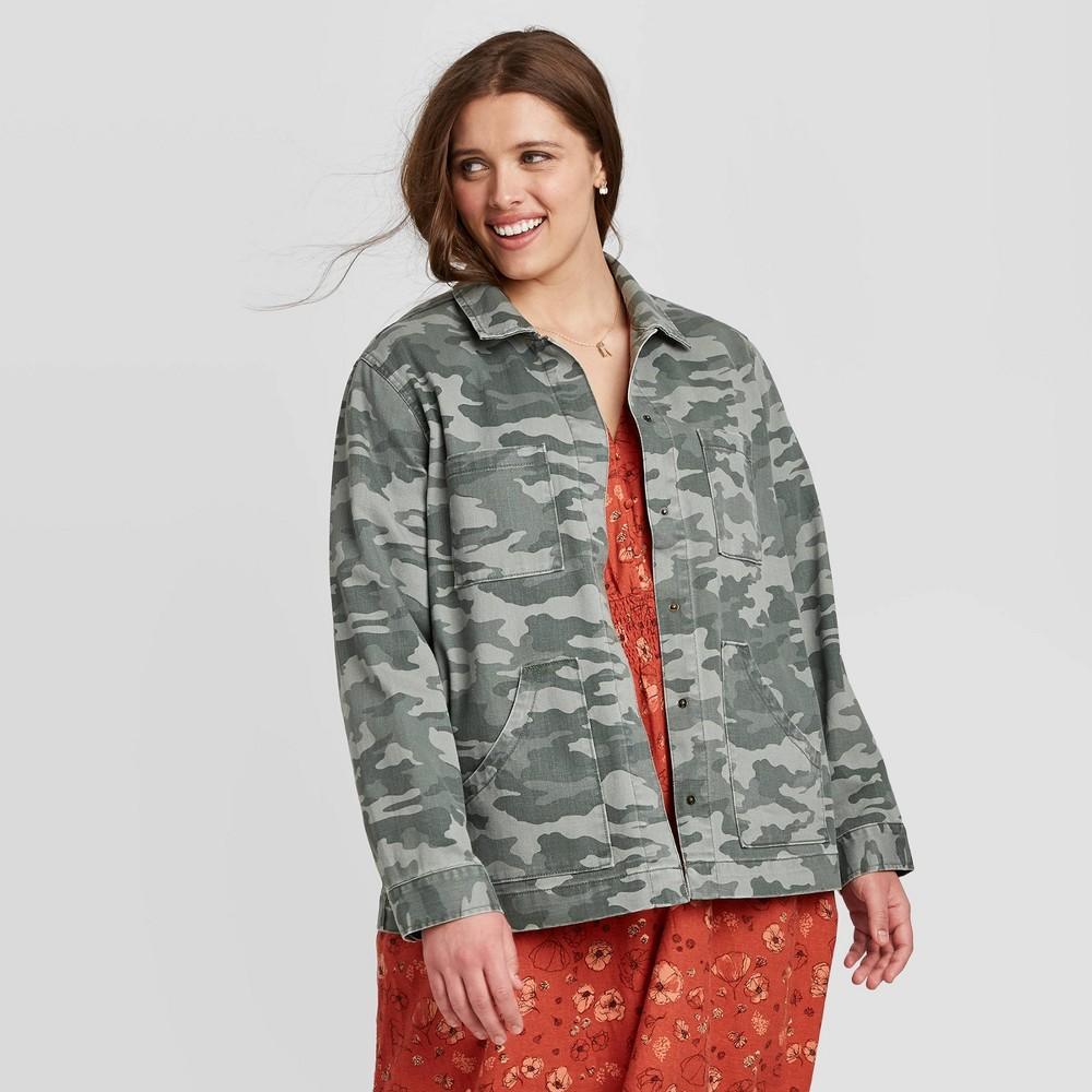 Women's Plus Size Camo Print Long Sleeve Chore Jacket – Universal Thread Green 1X, Green/Green
