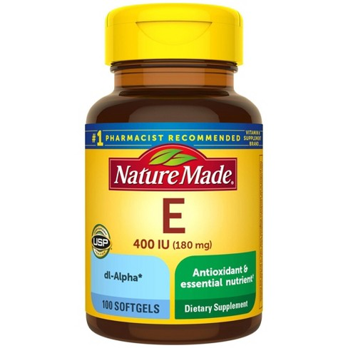 Nature Made Vitamin E 180 mg (400 IU) dl - Alpha Softgels - 100ct - image 1 of 4