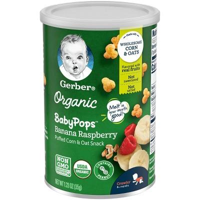 Gerber Organic BabyPops Banana Raspberry Puffed Corn & Oat Baby Snacks - 1.23oz