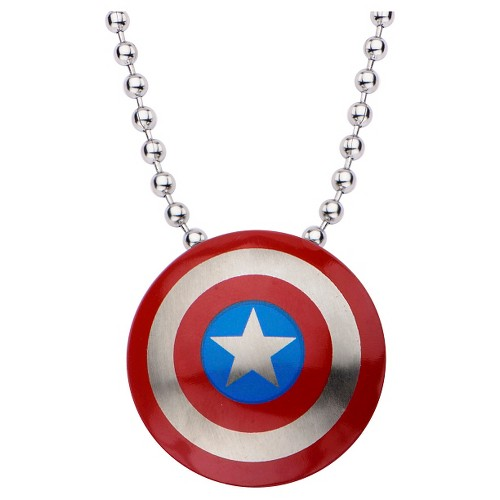 "Women's Marvel Captain America Shield Logo Stainless Steel Small Pendant with Chain (22""), Adult Unisex, Silver"
