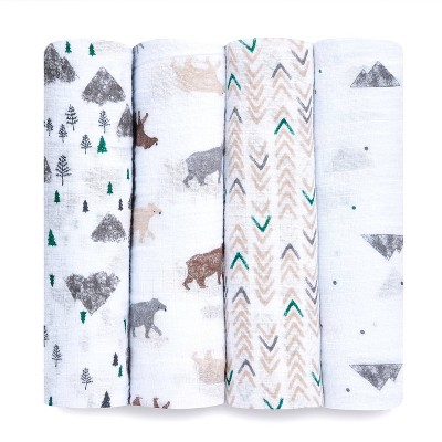 aden + anais essentials Muslin 4pk Swaddles – Bear Necessities