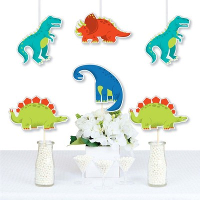 Big Dot of Happiness Roar Dinosaur - T-Rex Triceratops Stegosaurus & Brontosaurus Decor DIY Dino Baby Shower or Birthday Party Essentials - Set of 20