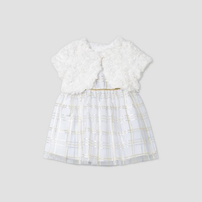 Mia & Mimi Baby Girls' Plaid Dress with Faux Fur Shrug - Silver/Gold 6-9M