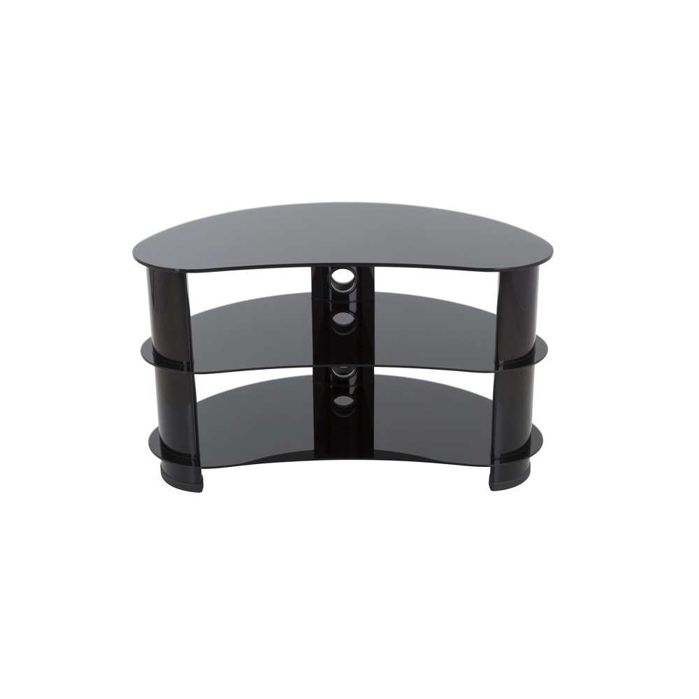 """Image of """"42"""""""" TV Stand with Glass Shelves - Black"""""""