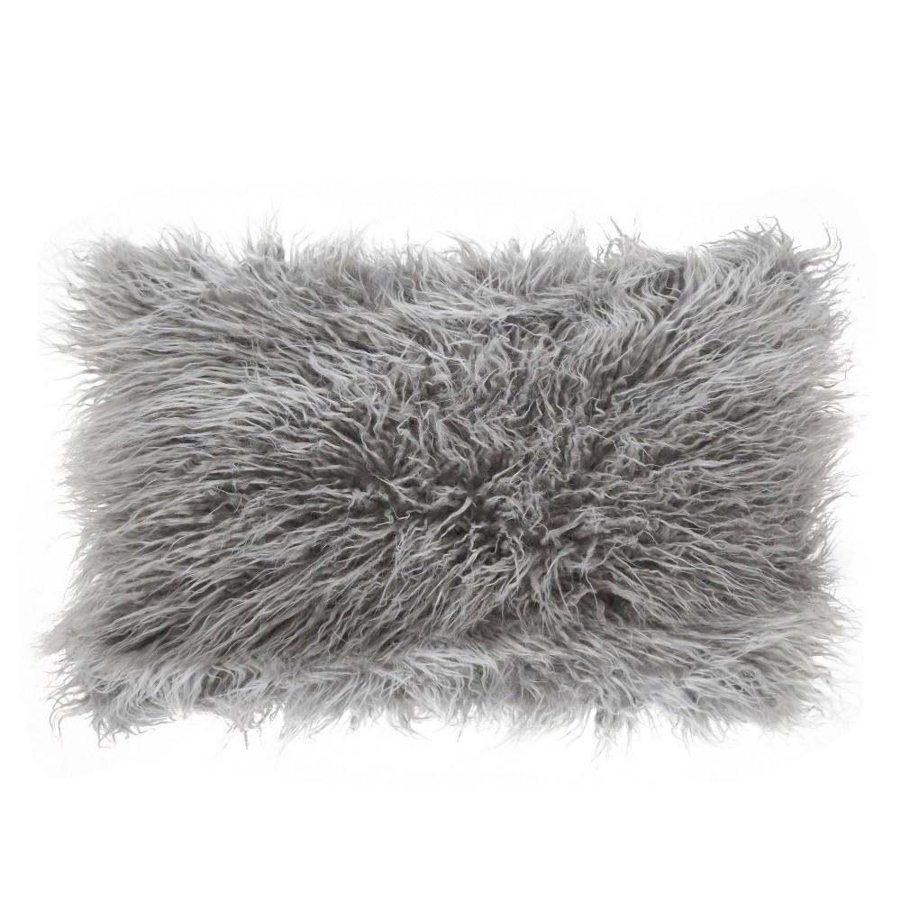 12 34 X20 34 Poly Filled Faux Mongolian Fur Pillow Fog Gray Saro Lifestyle