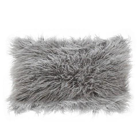 Poly Filled Faux Mongolian Fur Throw Pillow - Saro Lifestyle - image 1 of 3