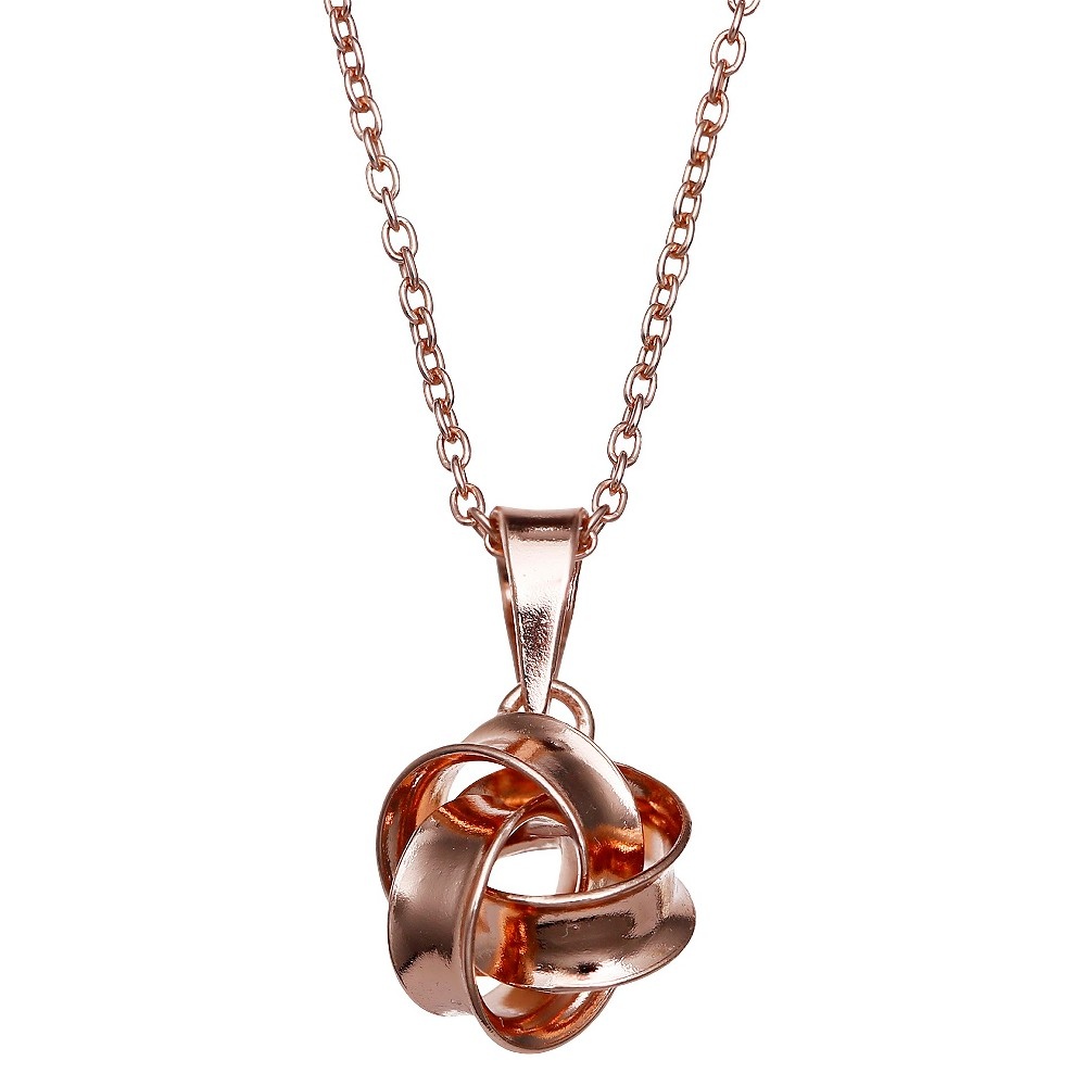 Image of Polished Loveknot Pendant in Sterling Silver - Rose Gold (18) - Treasure Lockets