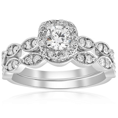 Pompeii3 7/8 cttw Cushion Halo Diamond Engagement Wedding Ring Set 14k White Gold Vintage