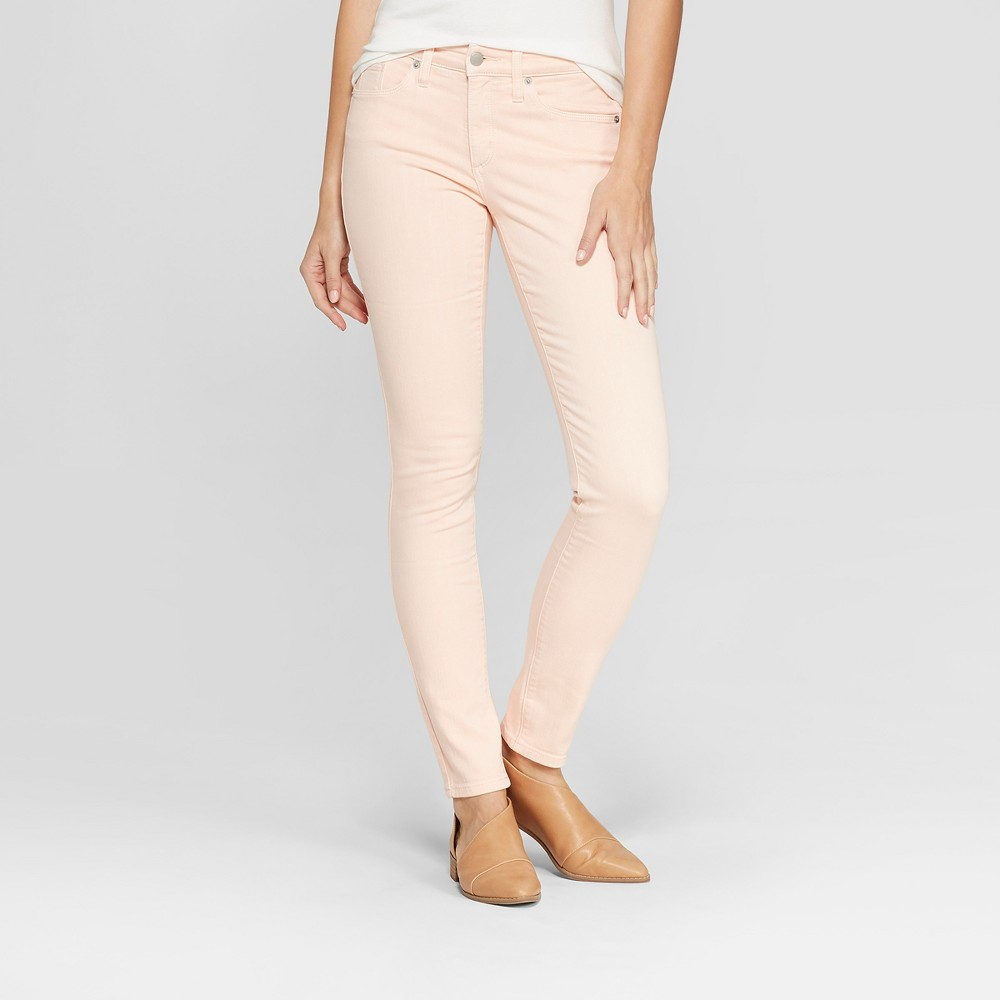 Women's High-Rise Skinny Jeans - Universal Thread Pink 10 Long, Orange
