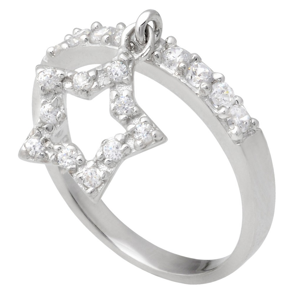7/10 CT T.W. Round Cut Cubic Zirconia Pave Set Dangle Star Ring in Sterling Silver (8), Women's