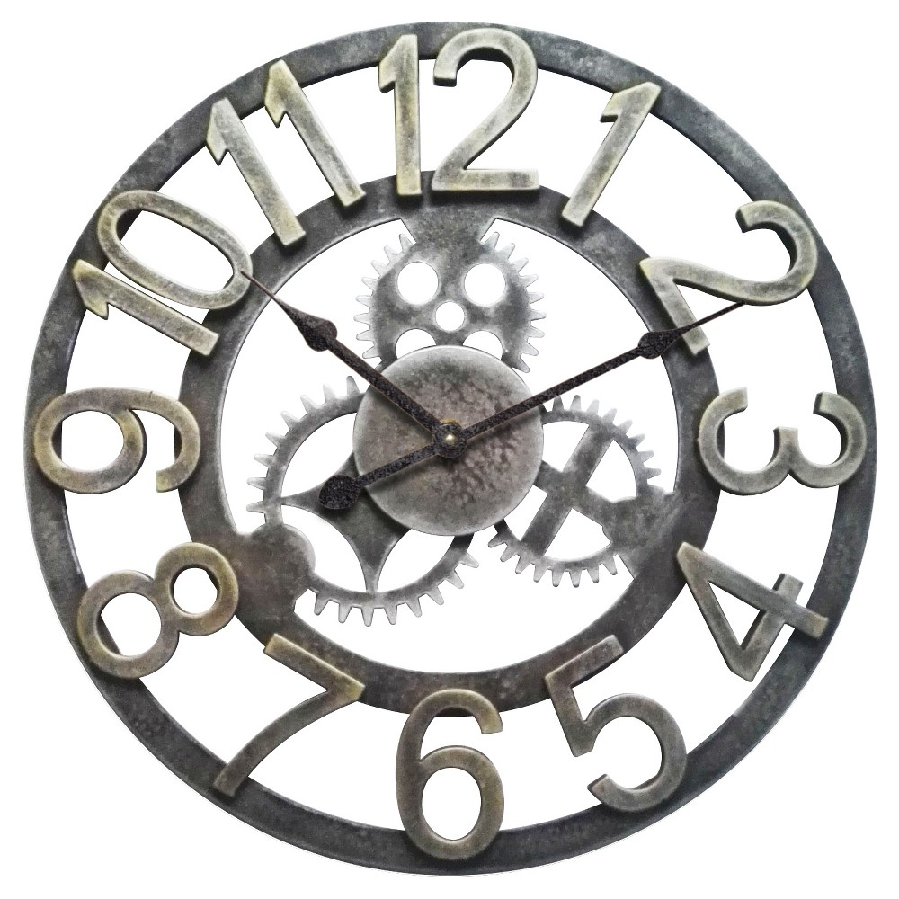 Gear Decorative Wall Clock Silver - Infinity Instruments, Gray/Gold