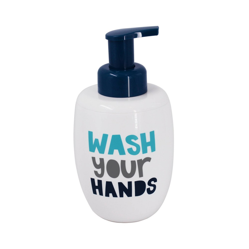 Image of Wash Your Hands Foaming Soap Dispenser White & Navy - Pillowfort