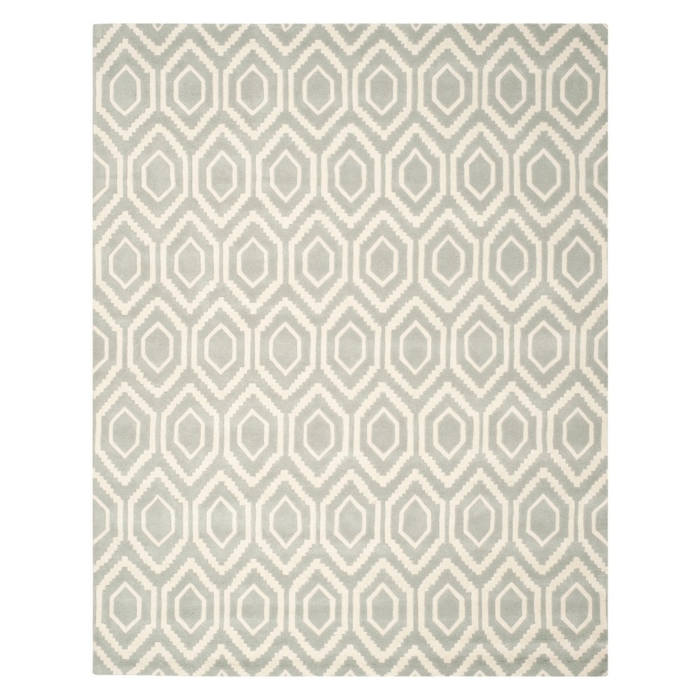 Geometric Tufted Area Rug Gray/Ivory