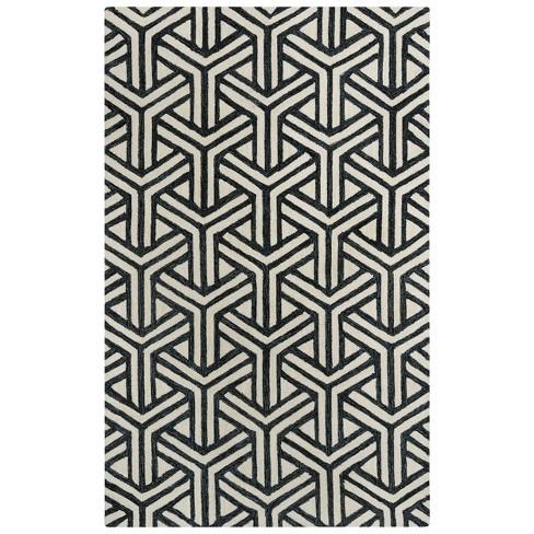 Ellis Geometric Wool Area Rug - Rizzy Home - image 1 of 4