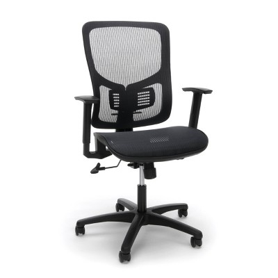 Essentials Collection Mesh Seat Ergonomic Office Chair with Lumbar Support Black - OFM