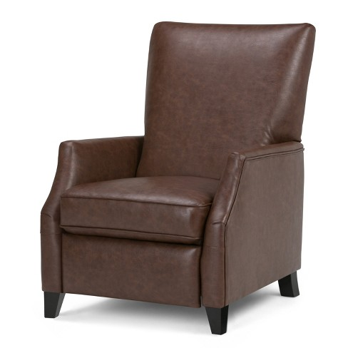 Alexander Push Arm Recliner Brown Faux Leather - Wyndenhall - image 1 of 4