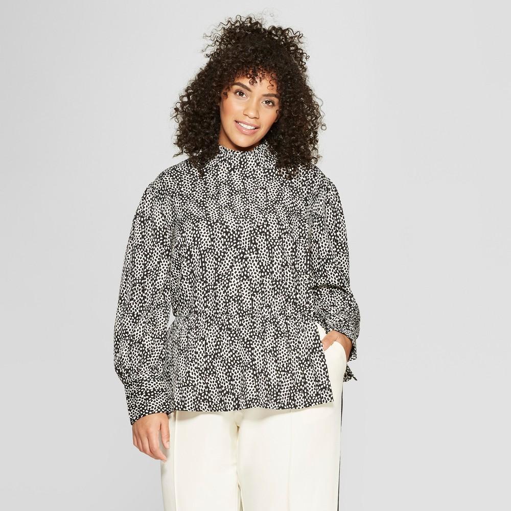 Women's Plus Size Polka Dot Long Sleeve Asymmetric Button Turtleneck Blouse - Who What Wear Black X, Black Polka Dot