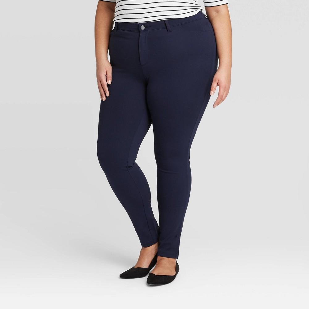 Image of Women's Plus Size 5 Pocket Ponte Pants - Ava & Viv Navy 14W, Blue