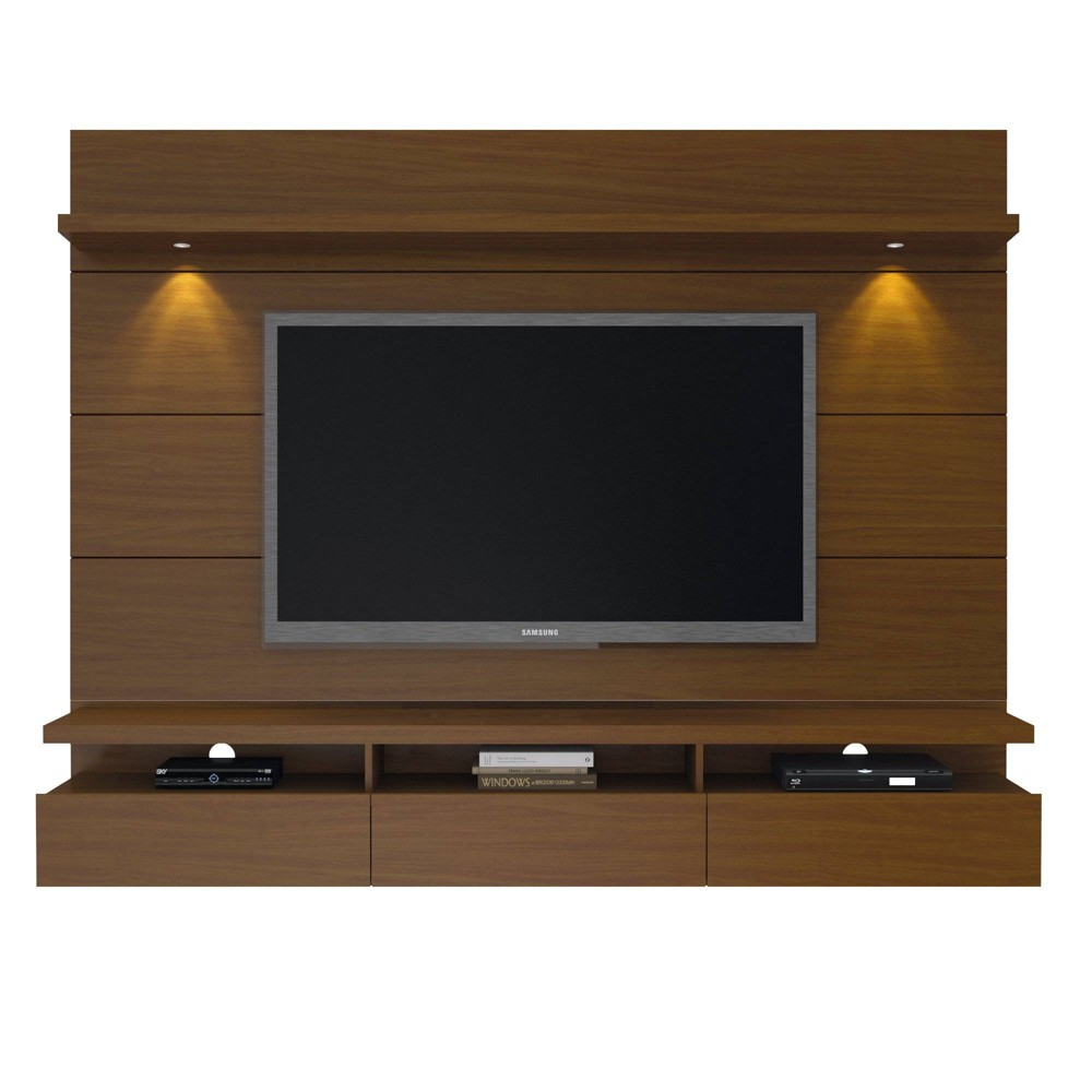 Cabrini 2.2 Floating Wall Theater Entertainment Center Nut Brown - Manhattan Comfort