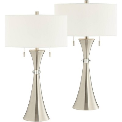360 Lighting Art Deco Table Lamps Set of 2 with WiFi Smart Sockets Silver Metal Column White Drum Living Room Bedroom Bedside
