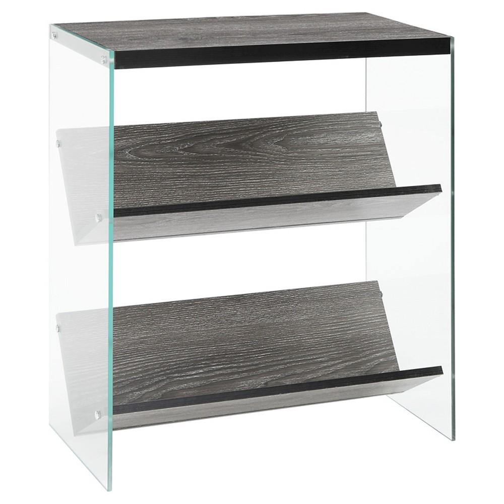 """Image of """"27.75"""""""" Soho Bookcase Weathered Gray/Glass - Johar Furniture"""""""