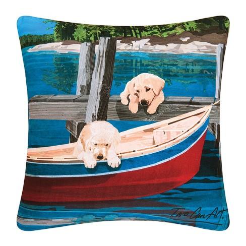 C F Home 18 X 18 Puppies Canoe Indoor Outdoor Decorative Throw Pillow Target