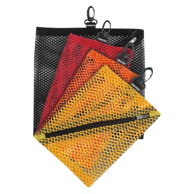 Vaultz Mesh Storage Bags, 4ct - Black/Red/Orange/Yellow