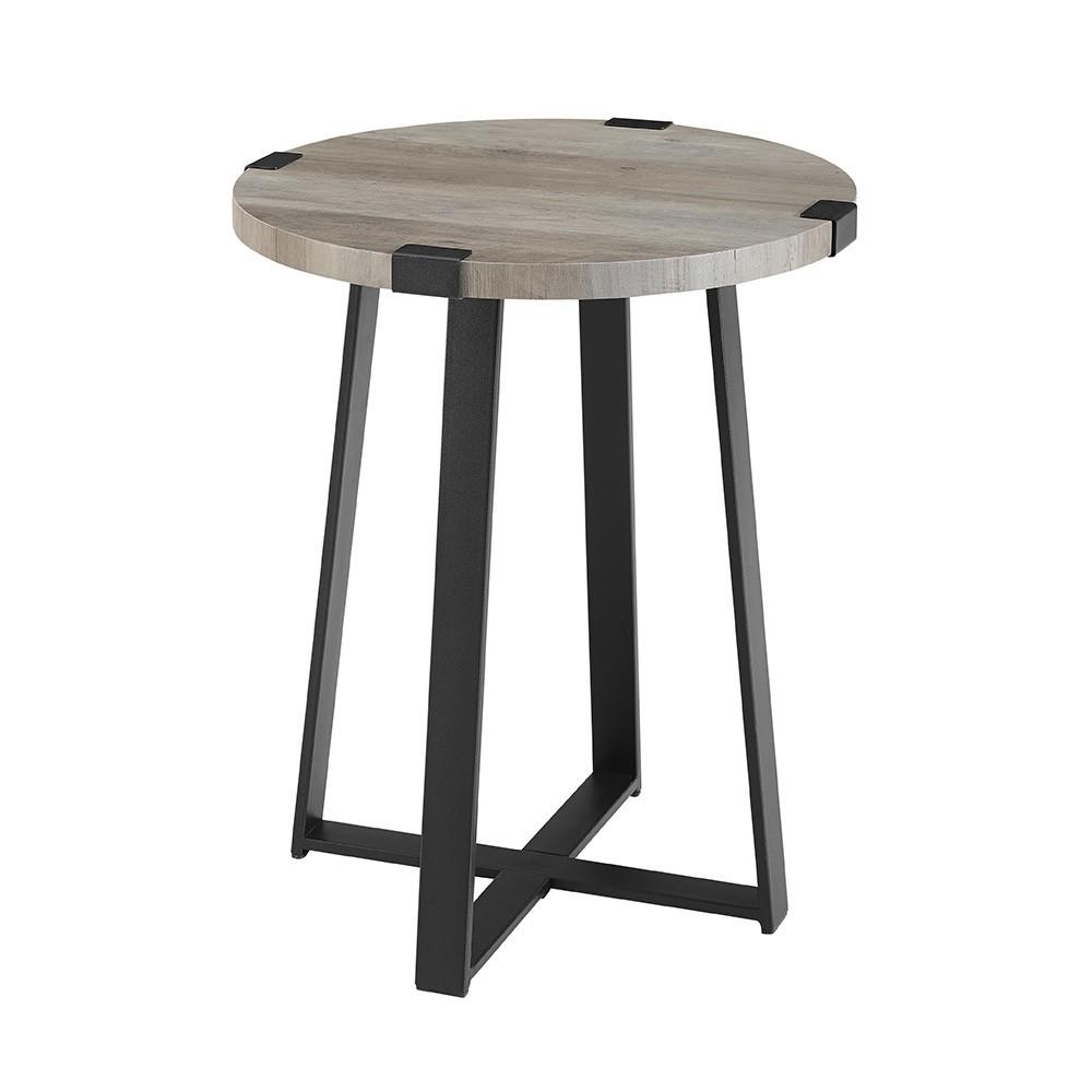 18 Metal Wrap Round Side Table Gray Wash - Saracina Home
