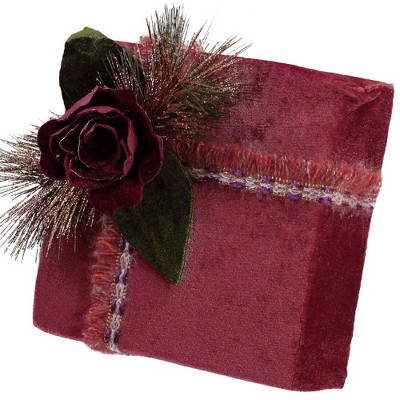 """Northlight 8"""" Red and Green Floral Accent Christmas Gift Box Decor"""