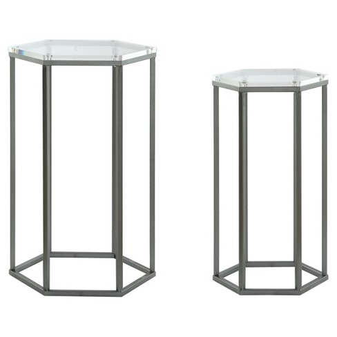 Harris Hexagon Acrylic Nesting Tables (Set of 2) - Clear - Treasure Trove - image 1 of 5