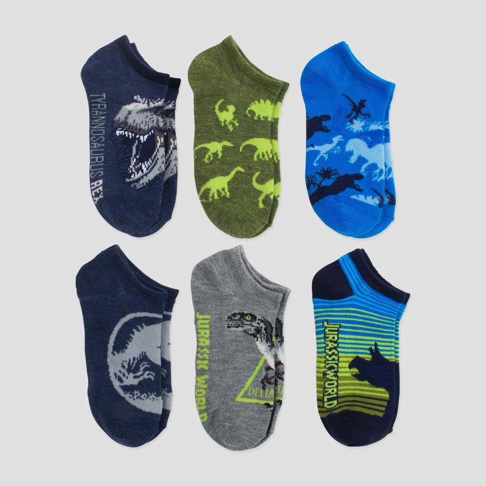 Image of Boys' Jurassic World 6pk Socks - Blue M/L (3-10), Boy's, Size: Medium/Large (3-10)