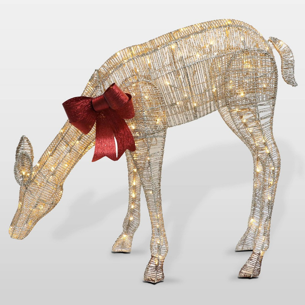 "Image of ""40.5"""" Puleo Lit Outdoor Gold Feeding Doe Yard Art Novelty Sculpture"""