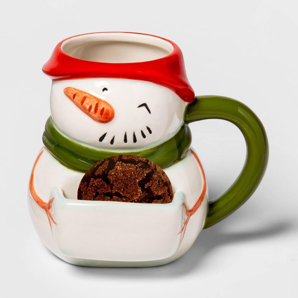 Image of 13oz Earthenware Snowman Cookie Mug White - Threshold