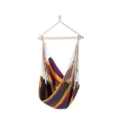 Boho Breeze Swinging Bungalow Hammock Chair - Tropical Stripe - Blue Wave