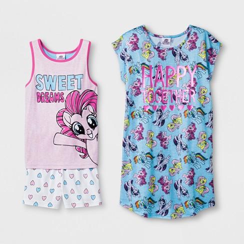 f77a54e5e824 Girls  My Little Pony 3pc Pajama Set - Blue Pink   Target