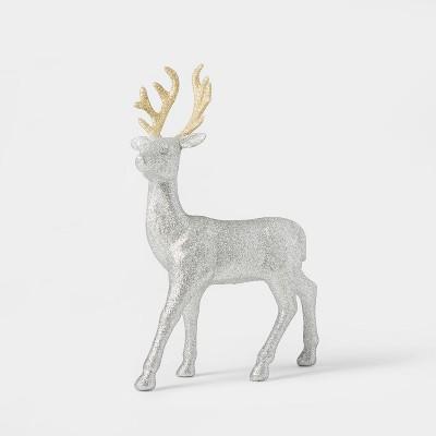Glitter Deer Decorative Figurine Silver - Wondershop™