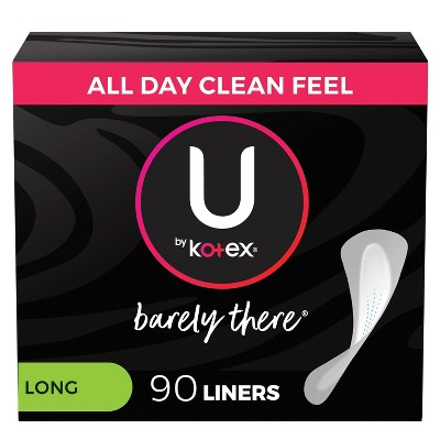 U by Kotex Barely There Thin Unscented Panty Liners - Light Absorbency - Long - 90ct