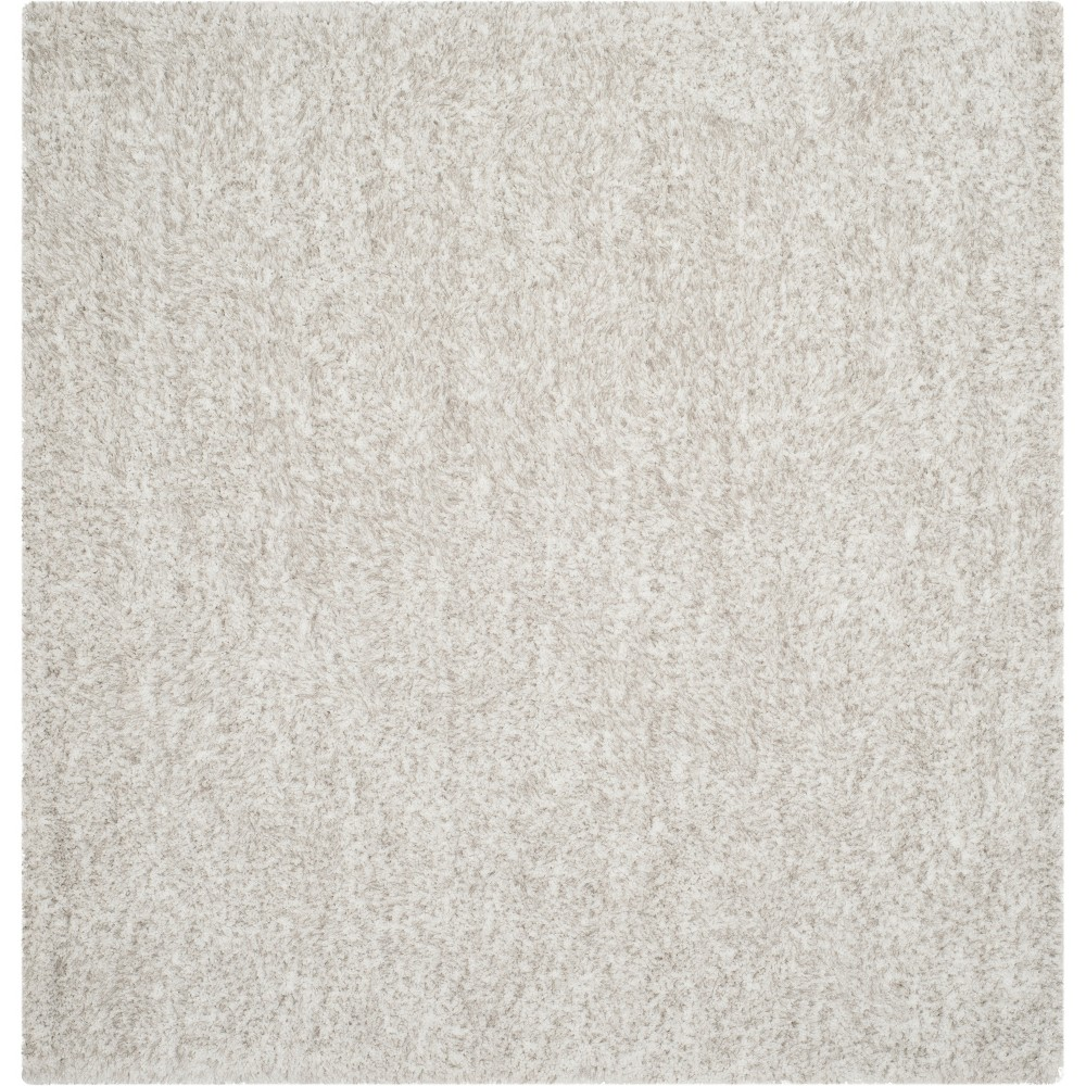 5'X5' Solid Tufted Square Area Rug Ivory/Light Gray - Safavieh