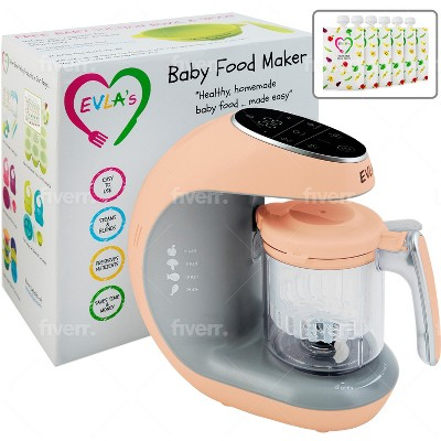 EVLA's Baby Food Maker, Food Processor with Reusable Food Pouches, Peach