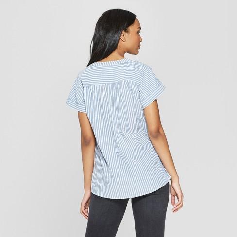 97269b2088a9e4 Women's Short Sleeve Striped Blouse - Universal Thread™ Blue : Target
