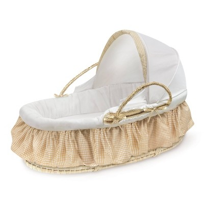 Badger Basket Natural Moses Basket with Fabric Canopy Bedding - Beige Gingham