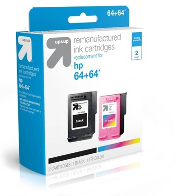 Remanufactured Black/Tri-Color Standard 2-Pack Ink Cartridges - Compatible with HP 64 Ink Series Printers - up & up™