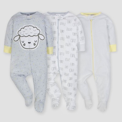 Gerber Baby 3pk Sleep 'N Play Sheeps - Gray/White/Yellow 0/3M