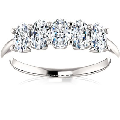 Pompeii3 1 1/2Ct Oval Moissanite Marquise Wedding Ring in White, Yellow or Rose Gold