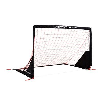 Rukket Sports 6 x 4 Foot Portable Indoor Outdoor Travel Kids Youth Practice Foldable Soccer Goal Net, Black