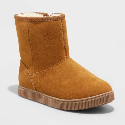 Girls' Hannah Zipper Slip-On Winter Shearling Style Boots - Cat & Jack™