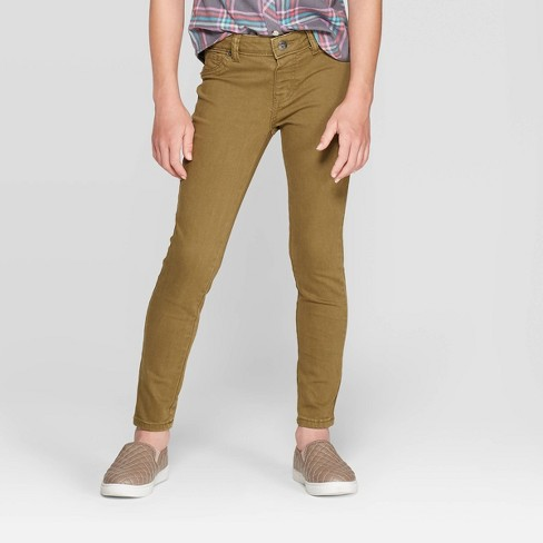 Girls' Skinny Jeggings - Cat & Jack™ Olive - image 1 of 3