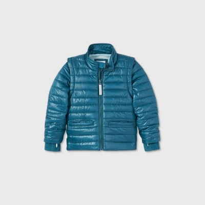 Toddler Girls' Adaptive Puffer Jacket - Cat & Jack™ Teal