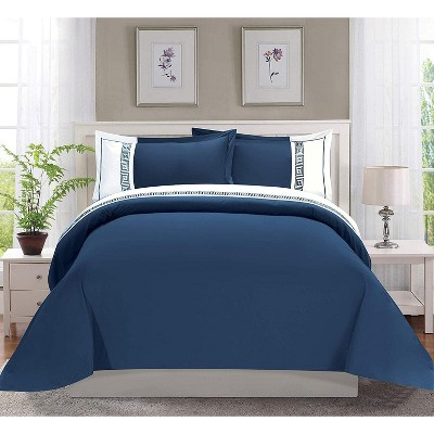 Elegant Comfort Luxury Hotel Collection Greek Embroidered Design 3-Piece Duvet Cover Set with Shams.
