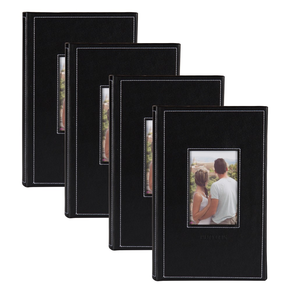 Image of 300 Photos Debossed Faux Leather Photo Album Black - Designovation